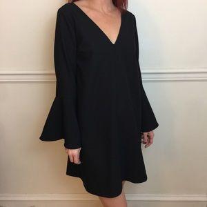 EMERSON FRY Black Bell Sleeve Mini Fluted Dress